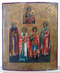 Russian Icon - Our Lady of Smolensk, St. John, St. Antipus, St. George & St. Jacob