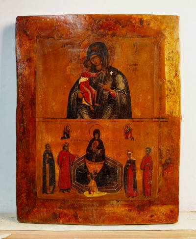 Russian icon - 2-Panel icon: Feodorovskaya Mother of God and the Lifegiving Spring Mother of God