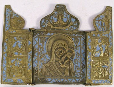 Russian Orthodox 3-panel folding travel skladen Icon depicting Our Lady of Kazan