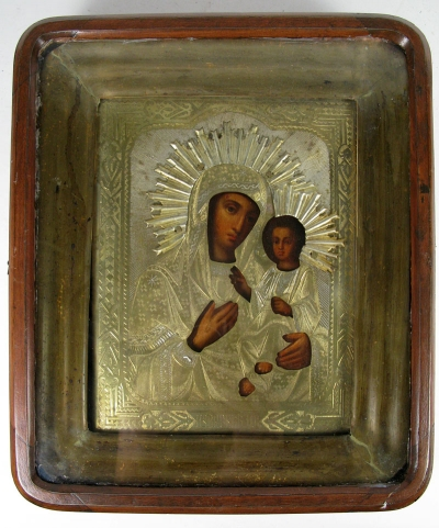 Russian Icon - Our Lady of Iveron in brass oklad and kiot