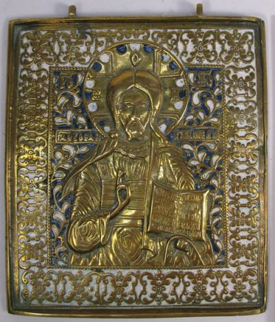 Large Russian brass plaquette depicting Christ Pantocrator