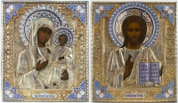 Wedding Pair of Fine Russian Icons - Christ and Our Lady of Iveron in silver and enamel revetment cover