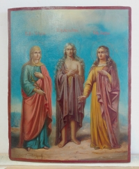 Russian icon - 3 Female Saints: Tatiana, Mary of Egypt & Martha