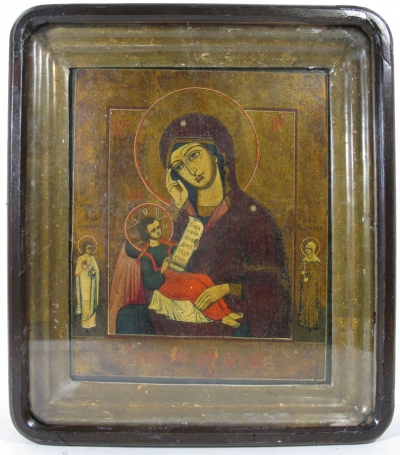 Russian icon - Soothe My Sorrows Mother of God in kiot shadow frame