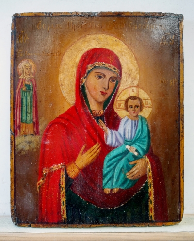 Russian icon - Our Lady of Smolensk with St Greatmartyr Anastasia