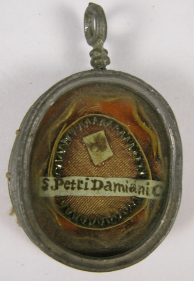 Reliquary theca with relics of Saint Peter Damian, patron Saint of freerunners