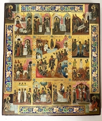 Russian Icon - The Resurrection & Orthodox Feasts with Evangelists