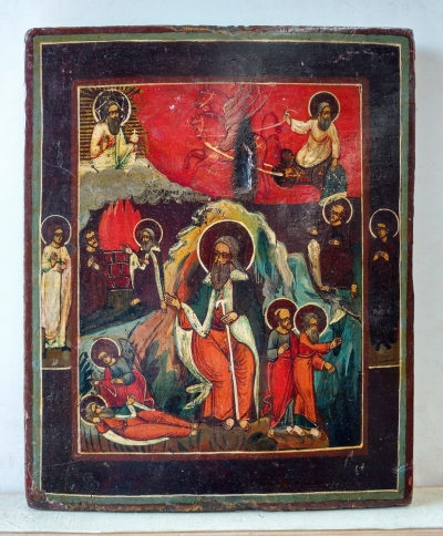 Russian Icon - St Prophet Elija with Scenes of His Life and Fiery Ascent