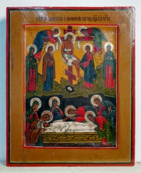 Russian Icon - The Deposition and the Lamentation of Christ