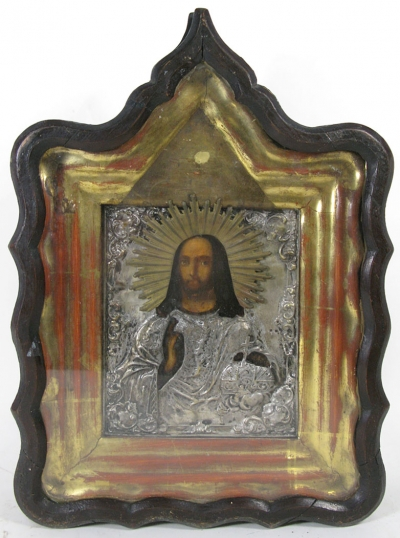 Russian Icon - Christ Pantocrator in brass oklad cover and kiot shadow frame