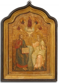 Russian icon - New Testament Trinity in kiot shadow frame