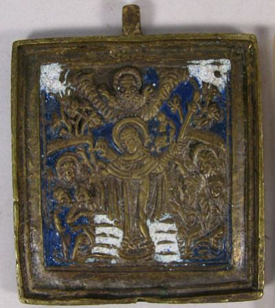 Small Russian brass plaquette depicting Joy to All Who Sorrow Mother of God