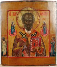Russian Icon - Saint Nicholas, the Wonderworker of Myra with two border saints