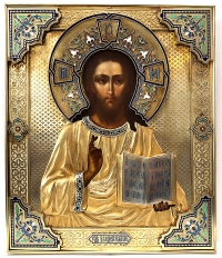 Fine Russian Icon - Christ Pantocrator in silver and enamel oklad revetment cover
