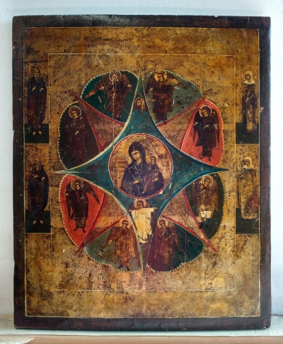 Russian Icon - Our Lady of the Unburnt Thornbush with 4 border saints