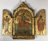 17th century Greek triptych of Holy Greatmartyr Demetrius of Thessaloniki with Archangels Michael & Gabriel