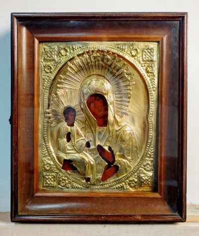 Russian Icon - The Three-Handed Mother of God in brass oklad