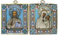 Wedding Pair of Fine Russian Icons - Christ and Our Lady of Kazan in silver, pearl, and enamel revetment cover
