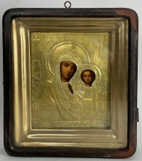Russian icon - Our Lady of Kazan in brass cover and kiot shadow frame