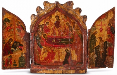 17th century Greek Cyprus Triptych Icon - Dormition of Theotokos, Nativity & Baptism of Christ, St Cosmas & Damian