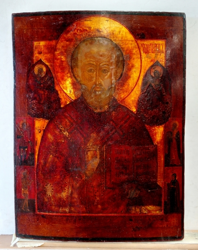 Russian icon - St. Nicholas the Wonderworker of Myra with 4 border saints