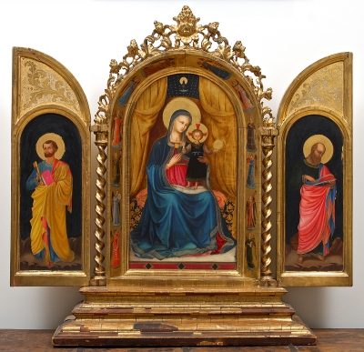 Italian Neo-Renaissance Triptych Altarpiece with the Virgin and Child