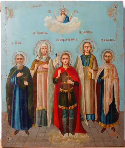 Russian Icon - Archangel Michael and three selected Saints: Agnes of Rome, Simon, Gury, and Aviv (Patrons of the Holy Matrimony)