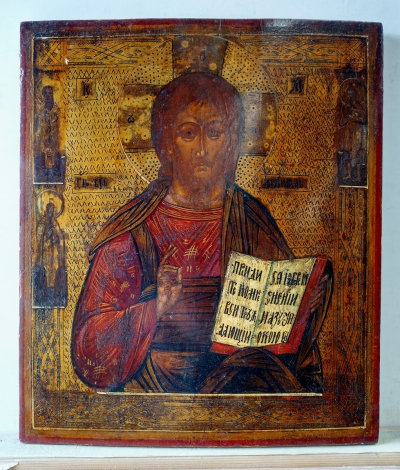 Russian Icon - Christ Pantocrator with 3 Border Saints