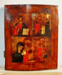 Russian icon - 4-Panel icon: Christ Pantocrator, the Annunciation, Our Lady of Kazan, and St. Prince Alexander Nevsky