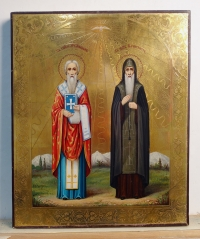 Russian Icon - 2 Saints: St. Anfimus, Bishop & Martyr and St. Feoktist Monk