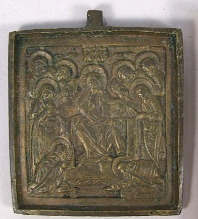 Small Russian brass plaquette depicting Savior of Smolensk