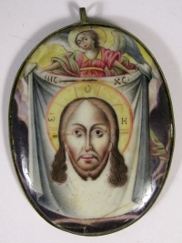 Russian Religious Finift Porcelain Plaquette of the Holy Mandylion