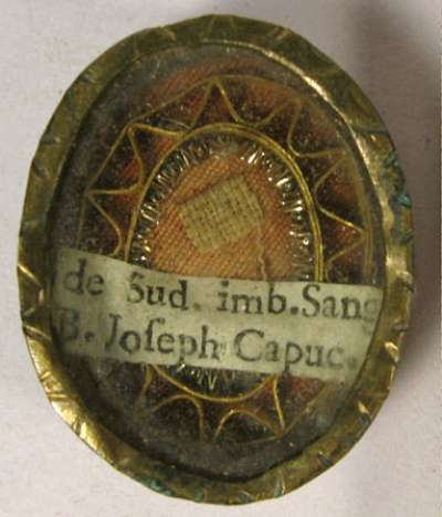 Theca with first class relic of Saint Joseph of Leonessa, O.F.M. Capuchin