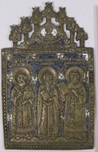 Large Russian brass plaquette depicting Three Hierarchs of the Orthodox Church