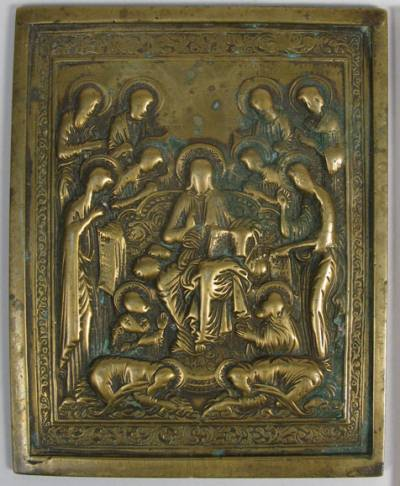 Medium Russian brass plaquette icon depicting Savior of Smolensk