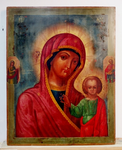 Russian Icon - Our Lady of Kazan with 2 border saints
