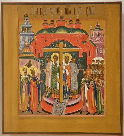 Russian Double-Sided Icon - the Holy Mandylion and the Elevation of the Cross