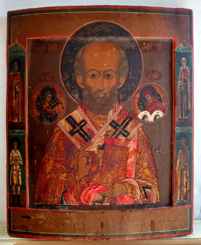 Russian Icon - St. Nicholas the Wonderworker of Myra & Border Saints