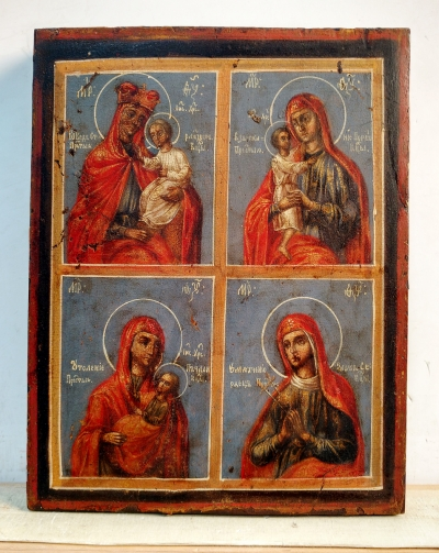 Russian icon - Four Miracleworking Madonnas