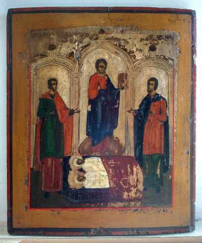 Russian icon - Jesus Christ and Four Selected Orthodox Saints