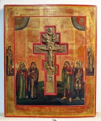 Staurotheke Icon with the Crucifixion, Mourners & Border Saints