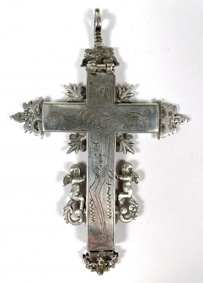 Fine Silver Pectoral Cross with Relics of Christ's Passion: of the Cross, of the Scepter, of the Sponge, Sweat Cloth, of the Crown of Thorns, of the Spear, of the Nail