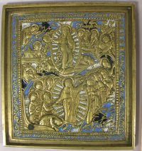 Medium Russian brass plaquette icon depicting Anastasis of Jesus Christ