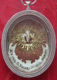 Theca with first class ex ossibus relic of Unmercenary Healer and Greatmartyr Saint Pantaleon (Panteleimon)