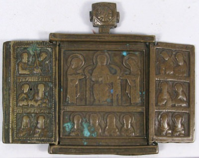 Small Russian Orthodox 3-panel folding travel skladen Icon depicting Christ Enthroned, Evangelists, Archangels, Apostles, and selected Saints