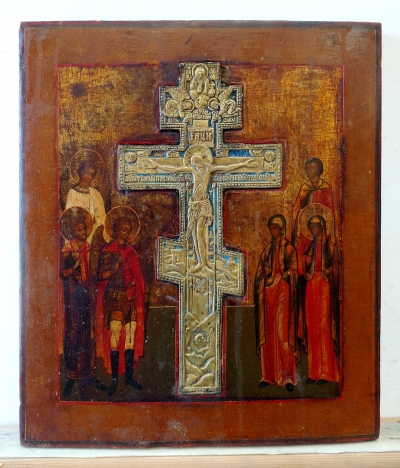 The Staurotheke icon with Crucifix and 6 Family Saints
