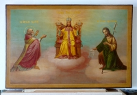 Russian icon - Christ Enthroned with St Nicholas & St John the Baptist