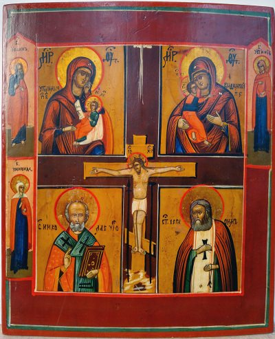 Russian four-part Icon with Crucifixion depicting Sooth My Sorrow Mother of God, Our Lady of Vladimir, Saint Nicholas, and Saint Seraphim of Sarovsk