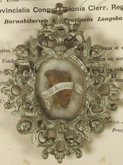 Documented theca with the first class ex ossibus relic of Saint Anthony Maria Zaccaria