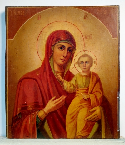Double-sided Russian Icon - Our Lady of Iveron / St. Nicholas of Myra